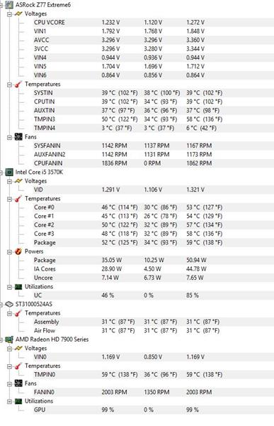 After 5 minutes of Gaming - Crysis 3 Temperature